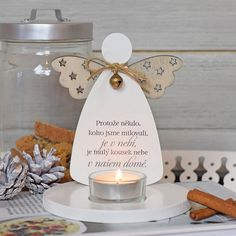 Svícen anděl - Nebo v našom dome SK Candle Jars, Candles, Activities For Kids, Origami, Place Card Holders, Table Decorations, Creative, Christmas, Handmade