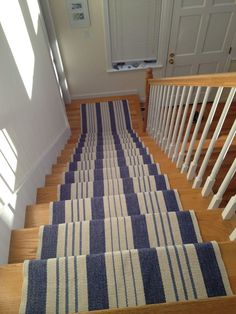 Lima navy blue beige modern stripe stair carpet runner rug for Dash and albert runners