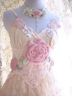 Pastel shabby dress with Lace and Roses