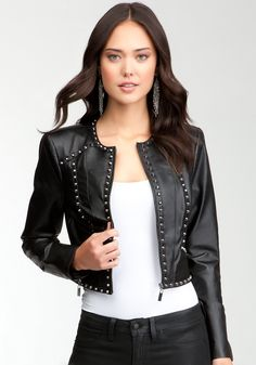 bebe Aria Studded Leather Jacket.  I love how slim this leather jacket is, I always hate to put on a jacket and have it add 10 pounds to my figure.  Wearing this would be like a warm accessory because the studs add the perfect hint of something special without taking away from the rockin outfit that I am of course wearing! #bebewishlist