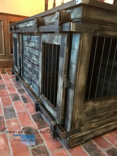 Farmhouse Style, dual barn door rollers, double indoor dog kennel.
