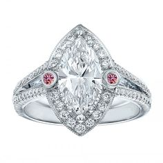 Engagement Ring -Marquise Diamond Halo Pink Eyes Engagement Ring in 14K White Gold-ES1377