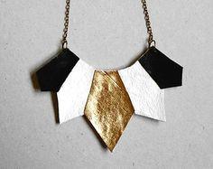 Minimaliste en cuir collier collier collier géométrique par byUna