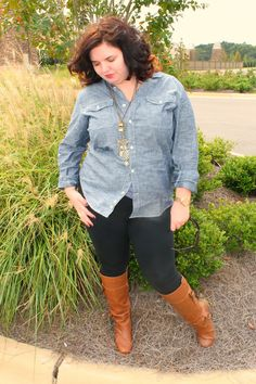 I still need to find the right shirt. I want one with snaps instead of buttons.    Chambray, leggings and boots!