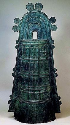 Dotaku Bronze Bell with Tossen Handle and Zigzag Pattern, Late Yayoi Period (3rd Century A.D.), Japan