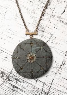 Danna Gusman - round polymer clay fimo mandala geometric necklace with beads - scratch old effect look