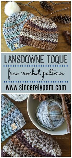 The Lansdowne Toque is a FREE crochet pattern by Sincerely, Pam. The bulky yarn . The Lansdowne Toque is a FREE crochet pattern by Sincerely, Pam. The bulky yarn makes it perfect for cold weather! Bonnet Crochet, Crochet Beanie Pattern, Crochet Mittens, Crochet Gifts, Crochet Scarves, Crochet Dolls, Crochet Yarn, Knitting Yarn, Crochet Stitches