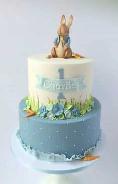 These 18 Adorable Peter Rabbit Party Ideas will have you planning the most memorable party. Get ideas for Peter Rabbit cakes, decorations, favors, and more. Boys First Birthday Cake, Baby Birthday Cakes, Baby Boy Cakes, Birthday Design, 1st Birthday Party Ideas For Boys, 1 Year Old Birthday Cake, Baby Boy Cake Topper, 1st Bday Cake, Vintage Birthday