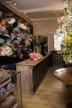 Hat Display, Vintage Space, Hat Shop, Around The Worlds, Millinery Hats, Boutique, Fascinators, Luxury, Shops