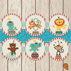 Printable Circus Cupcake Toppers  Circus by BrightOwlCreatives, $2.00