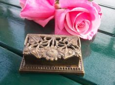 Vintage Floral Brass Stamp Box/Paper Weight by RockySpringsVintage