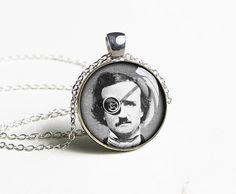 Handmade steampunk Allan Poe necklace pendant charm jewelry
