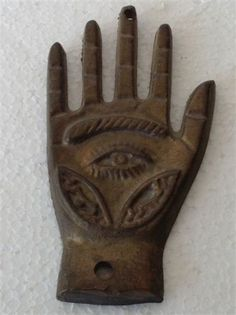 Antique Islamic Hand of Fatma Hamsa copper amulet Evil eye Ottoman pendant m625