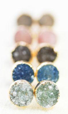 A'ia'i earrings - gold druzy stud earrings
