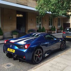 Ferrari 458 Speciale Aperta painted in Tour De France Blue w/ white central racing stripes  Photo taken by: @Alexpenfold on Instagram