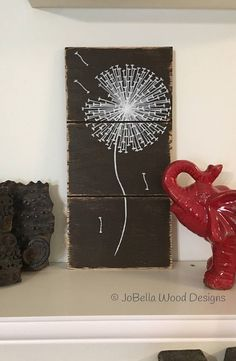 Dandelion farmhouse shiplap wood painting brown rustic for Urban farmhouse creations