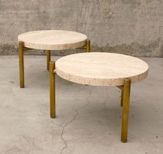 Side Tables – Travertine and brass plate 3 legs / diameter x t Granite Coffee Table, Coffee Tables, Brass Side Table, Side Tables, Dining Set, Dining Table, Table For 12, Leather Granite, Pergola Decorations