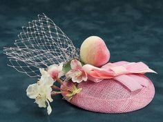 Peach Paradise - Fascinator mit Pfirsich - pale pink veiling