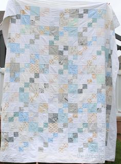 Beginner friendly low volume quilt. Quilt block sizes at this link!