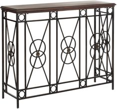 The geometric lines and circles of the Dustin console from Safavieh are reminiscent of the Art Deco period of the The table's iron work features a classic symmetrical design with a distinctive bronze finish. Space Furniture, Table Furniture, Bronze, Art Deco Period, Craftsman Style, Wood Construction, Art Deco Fashion, Home Decor, Foyer