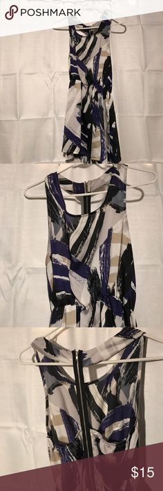 Dress Navy blue, black, beige and gray patterned dress with zipper down the back. Only worn once, great condition! Dresses Mini