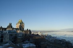 Quebec City, Chateau du Frontenac above the St Lawrence River in winter.