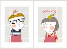 Kochen Prints 8 x 11.5 A4 von depeapa auf Etsy