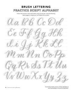 Lettering Brush, Brush Lettering Worksheet, Lettering Guide, Hand Lettering Practice, Script Lettering, Lettering Styles, Hand Lettering For Beginners, Calligraphy For Beginners Worksheets, Hand Lettering Fonts Free