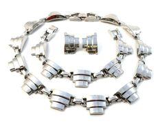 Jakob BENGEL Vintage 1930s Art Deco Chrome Necklace Bracelet & Earrings SET