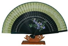 Silver J Oriental hand fan with fan case and butterfly tassel, dark green bamboo & silk, pocket size fan by Silver J. $16.98. Delivery to UK and International destinations. Orietal twine printed on the silk with subtle glitter.. Hand fan comes with a paper box and fancy silk fan case.. Flowers are hand painted on the bamboo pieces. Fan Size : Length 15cm (6''). Hand made pocket size hand fan made with green bamboo and silk.. This pocket size hand fan is made of...