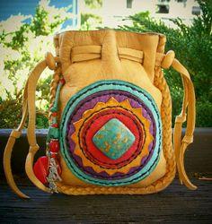 KOKOPELLI Southwest Medicine spirit Bag with Turquoise, antique trade beads