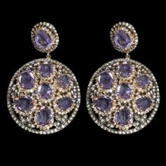 -14k Gold and Sterling Silver Earrings featuring Amethyst and Diamonds.