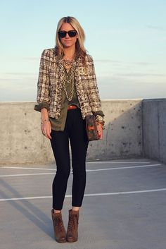 Chanel Tweed Jacket  My version: Tahari tweed coat, JCrew olive silk blouse, black skinnies, need boots, need gold chains/statement piece yesyesyes!