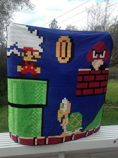 Mario Quilt for my Mario Lover by Dr. G Crafts, via Flickr, this will be my first ever quilt to make for my husband i love it!!!
