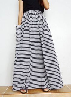 Women Maxi Long Skirt , Casual Gypsy, Bohemian , Cotton Blend In Gray Stripe (Skirt Modest Fashion, Skirt Fashion, Women's Fashion, Bohemian Skirt, Bohemian Gypsy, Long Maxi Skirts, Casual Skirts, Modest Prom Gowns, Mom Clothes