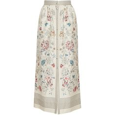 Vilshenko The Willow Print Button Down Midi Length Skirt ($795) ❤ liked on Polyvore featuring skirts, midi skirt, print midi skirt, high-waisted skirts, high-waisted midi skirts and cream skirt