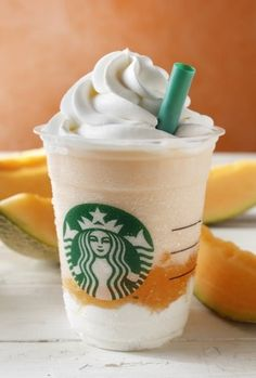 With a backdrop of swirling orange and white fabric on a large revolving stage, Cantaloupe Melon & Cream Frappuccino blended beverage was introduced by Starbucks Japan. Starbucks Drinks, Starbucks Coffee, Hot Coffee, Starbucks Whipped Cream, Cantaloupe And Melon, Cream Aesthetic, Flavored Milk, Japanese Candy, Beverage Packaging