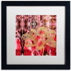 Trademark Fine Art Daisy Abstract Canvas Art by Lisa Powell Braun, White Matte, Black Frame, Red