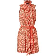 Marc By Marc Jacobs Red Belted Floral Dress ❤ liked on Polyvore