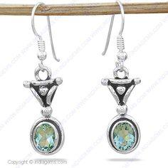 Green Amethyst 925 Silver Earring