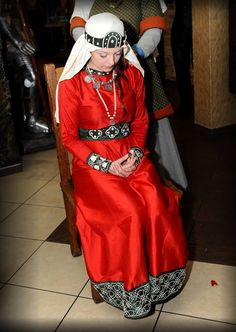 Medieval Rus - silk dress with embroidered bands