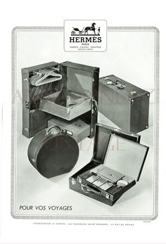1948 Vintage French Hermes baggage ad champagne fashion home decor