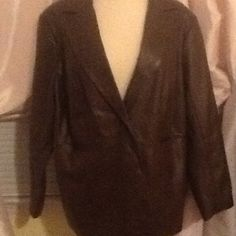 NWT Faux leather jacket Brown new 1 button blazer, faux leather jacket. cheetah print interior Susan Graver Jackets & Coats Blazers