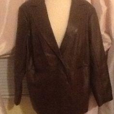 NWT Faux leather jacket Brown new 1 button blazer, faux leather jacket. cheetah print interior Susan Graver Jackets & Coats Blazers