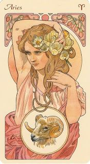 black moons in those eyes of hers - Art Nouveau Aries woman art print. For in depth info on Aries personality & characteristics go to w - Arte Aries, Aries Art, Zodiac Art, Zodiac Signs, Aries Astrology, Zodiac Scorpio, Zodiac Cancer, Art Nouveau Mucha, Alphonse Mucha Art