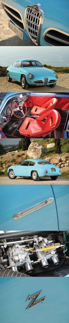 1958 Alfa Romeo Giulietta Sprint Veloce Zagato / SVZ / 118hp 1.3l L4 / blue red / Italy / 17-356 #alfaromeozagato #alfaromeogiulietta