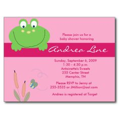 Shop Froggyville Frog Pink Green Girl Invitation created by allpetscherished. Green Girl, Pink And Green, New Baby Announcements, Birthday Postcards, Rsvp, New Baby Products, Envelope, Baby Shower, Invitations