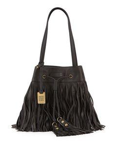 Heidi Fringe Drawstring Shoulder Bag, Black by Frye at Neiman Marcus.