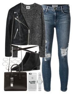 """Outfit for a casual dinner date"" by ferned ❤ liked on Polyvore featuring Frame Denim, Acne Studios, Forever 21, MANGO, H&M, Yves Saint Laurent, Casetify and Burberry"