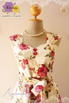 Sweet Floral Tea Dress Vintage Inspired Floral Party Wedding Bridesmaid Dress - My Floral Paradise  -Size XS, S, M, L,CUSTOM- on Etsy, $52.00